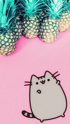 Pusheen and pineapples phone background