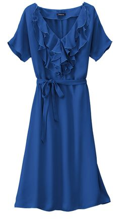 Flattering Fall Dress. Lands' End Ruffle Georgette Dress. Great for Work