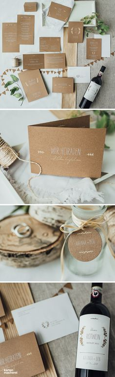 """Wedding stationery """"Rustic Love"""", which offers a great feel not only for spring weddings. Subtle leaves - motifs and the natural . Romantic Wedding Stationery, Wedding Invitation Design, Wedding Letters, Wedding Ideas, Post Wedding, Wedding Colors, Spring Weddings, Kraft Paper, Wordpress"""