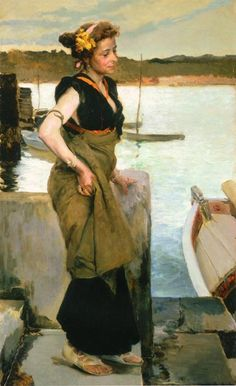 Waiting – Joaquin Sorolla – Oil Painting Reproductions and Prints from Canvas Replicas Spanish Painters, Spanish Artists, Caspar David Friedrich, Oil Canvas, Virtual Art, Art Academy, Art Database, Classical Art, Figure Painting