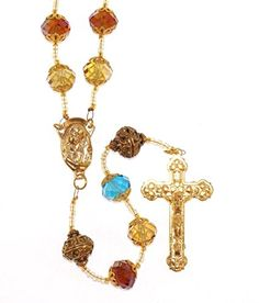 Gold Toned Heirloom Quality Sorrowful Mother Blessed Virgin Mary Madonna Vintage Design Pendant Rosary with Large 12mm Capped Electroplate Faceted Multi-Colored Crystals and Capped Antique Golden Ornate Our Father Beads with Stepped Up Crucifix Gift Boxed *** Read review @ http://www.amazon.com/gp/product/B01684ZCPY/?tag=splendidjewelry07-20&pkl=190716075518