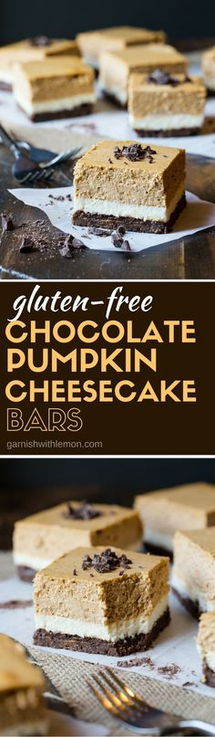 Need a gluten-free dessert for entertaining this fall? This recipe for make-ahead Gluten-Free Chocolate Pumpkin Cheesecake Bars is sure to be a huge hit with your guests! by keri Best Gluten Free Recipes, Gluten Free Sweets, Gluten Free Chocolate, Gluten Free Baking, Chocolate Desserts, Chocolate Chips, Healthy Recipes, Pumpkin Dessert, Paleo Dessert