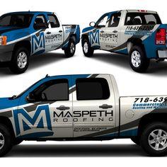 New truck wrap design for maspeth roofing Lifted Ford Trucks, New Trucks, Vehicle Signage, Vehicle Branding, Eco Friendly Cars, Van Wrap, Van Design, Truck Decals, Truck Design