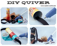 DIY Quiver: 1 to 3 inch wide ribbon or flat elastic -- something to make a strap (even duct tape will work!), about 3 - 5 feet long (it will need to go across your chest and secure to your back) Hot glue gun (adult supervision, please!) Duct tape