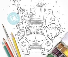 Christmas Gnome in the Car. Digi Stamp Nordic Truck | Etsy Christmas Truck, Christmas Gnome, Christmas Colors, Christmas Art, Christmas Images To Color, Copic, Truck Coloring Pages, Coloring Books, Coloring Sheets