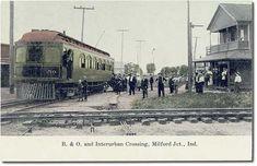 B. & O. Railroad and Winona Interurban Railway crossing, Milford Junction, Indiana