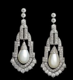 Lot 135 from Bonhams Autumn Sale: a pair of art deco natural pearl and diamond pendent earrings, circa 1925 (estimate: £150,000-£200,000).