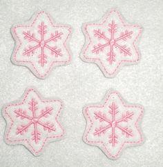 Machine Embroidered Hand made 4 Glitter Felt by HeartFeltCreation, $3.40