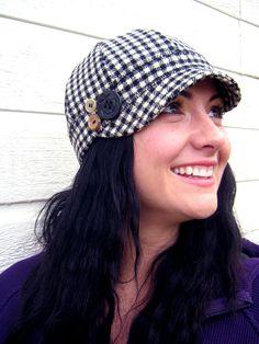 Womens Hat Black and White Wool 77753afbf990