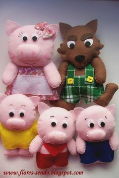 Bad wolf and three little pigs.