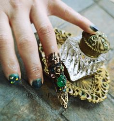 New Work By Raven Eve / Emerald city vintage jewel Nail Ring