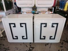 GREEK KEY Chests 7638 Off white with navy pulls Kittenger style 2400 pair Palm beach Upcycled Furniture, Vintage Furniture, Home Furniture, Hallway Cabinet, Greek Key, Home Decor Shops, West Palm Beach, My Room, Home Interior Design