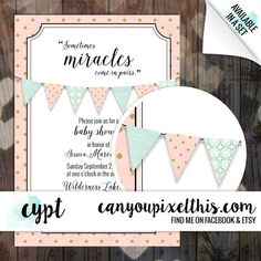 This listing is for a baby shower invitation with matching banner. This listing is for a digital file. No products will be shipped to you. At