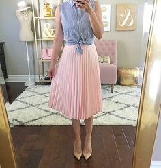 SHOW 'EM A GOOD TEA TIME SKIRT, write away miss top, pink peach pleated skirt, midi skirts, pleated skirts, striped shirt, nude pumps, louboutin pigalle pumps, petite fashion, modest outfits, Summer outfits - click the photo for outfit details!