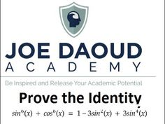 In this video, I go over the steps required to prove the trigonometric identity: + = 1 - + Please check out Joe Daoud A. Math Tutor, Trigonometry, Buick Logo, Cos, Identity, School, Schools, Personal Identity