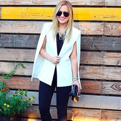 Chic up your Saturday night by switching up your outerwear with @lomurph's #LTKunder100 caped white blazer | Shop the look with www.LIKEtoKNOW.it | www.liketk.it/1V552 #liketkit
