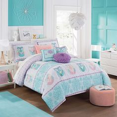 Shop for Waverly Kids Hoo Dreams Reversible Comforter Set. Get free delivery On EVERYTHING* Overstock - Your Online Kids Bedding Store! Bedroom Decor For Teen Girls, Girl Bedroom Designs, Teen Girl Bedrooms, Boy Rooms, Girls Bedroom Turquoise, Preteen Bedroom, Girls Bedroom Colors, Girls Room Design, Lego Bedroom