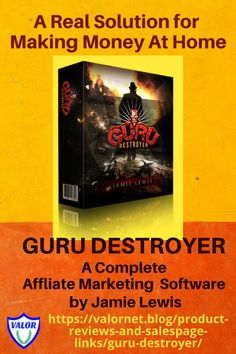GURU DESTROYER Guru Destroyer is an innovative software built by a super affiliate, Jamie Lewis, to help people with little or no experience with internet marketing to successfully generate monthly commissions (Guru Destroyer) for them. Marketing Software, Internet Marketing, Affiliate Marketing, Make Money From Home, Make Money Online, How To Make Money, Helping People, Dreaming Of You, Training