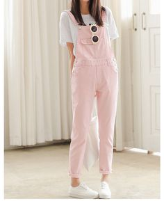 Light Pink Denim Overalls - These denim overalls are beyond cute! Paired with either the chiffon pastel blouse for a girly monochromatic combo or the white/navy v-neck varsity sweater and white Adidas sneakers for a trendy, cute look, these pants add a pop of colour and personality to any outfit. I would also pair the black & white striped t-shirt with these pink overalls because patterns are always complimented easily by a solid piece.