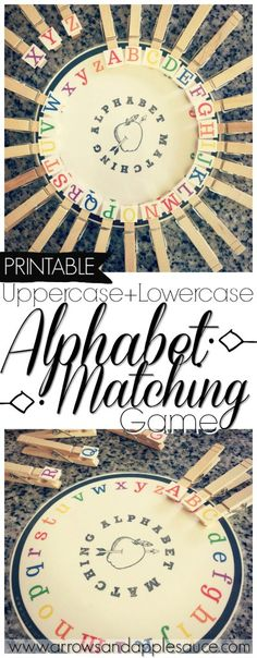 Learning to match the lowercase and uppercase letters is fun with this cute and colorful printable alphabet matching game. Easy to use with the added bonus of fine motor skills practice with the clothes pins. #alphabet #learningabcs #educationalgames ##kidsactivities #educational #matching #preschool #homeschool