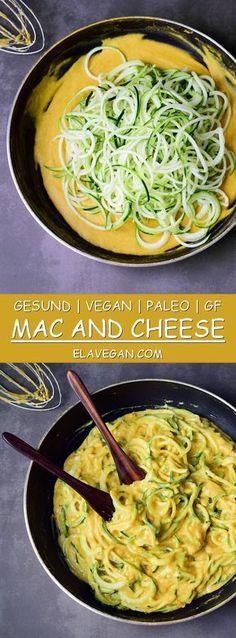 Veganes Mac and Cheese Rezept aus einfachen Zutaten. Diese leckere Mac 'n Cheese Käsesauce ist vegan, glutenfrei, 100% pflanzlich, paleo freundlich, schnelle und einfach zu machen und gesund. Die vegane Käsesoße ist reich an Gemüse und Ballaststoffen und passt perfekt zu Pasta!