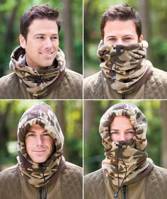 It has 4 uses in You'll never be chilly with this soft and cozy fleece hood. Not only can it be used as an open hood, but it can be worn as a combination hood/face mask, Camo Scarf, Fleece Scarf, Hooded Scarf, Sewing Scarves, Sewing Clothes, Diy Clothes, Fleece Crafts, Fleece Projects, Sewing Hacks