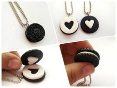Best Friend Heart Necklace Collections - Be Modish - Keychain oreo bff present gift idea - jewelrydiy Bff Necklaces, Best Friend Necklaces, Couple Necklaces, Friendship Necklaces, Best Friend Jewelry, Best Friend Gifts, Gifts For Friends, Friendship Presents, Small Necklace
