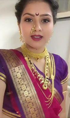 Marathi Saree, Marathi Bride, Beautiful Girl Image, Beautiful Women, Nose Jewels, Saree Jewellery, Nauvari Saree, Most Beautiful Indian Actress, Bride Look