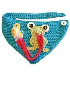 Baby Knitting Patterns Toys This cloth is a real all-rounder for our little ones – crochet pattern via … Crochet Baby Bibs, Crochet Baby Blanket Beginner, Crochet Baby Clothes, Crochet For Kids, Crochet Toys, Knit Crochet, Crochet Frog, Knitted Baby, Baby Knitting Patterns
