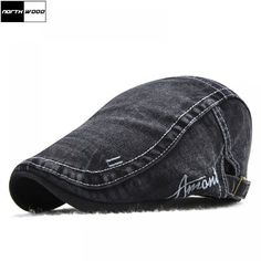 a6fe0437253  NORTHWOOD  Denim Beret Caps For Men Women Summer Hat Outdoor Flat Berets  Cap Bone