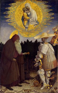 Antonio di Puccio Pisano (Il Pisanello) | Madonna and Child in Glory with Saint Anthony Abbot and Saint George, c. 1445