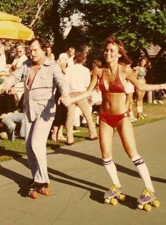 """The Hef"" 1970s Hue Hefner Roller Skating with a hottie! vintage roller skates - retro roller skates - roller girl - play boy"