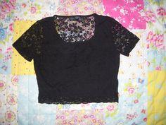 Topshop Vintage look black lace crop tee by Wondarlust on Etsy, £12.00