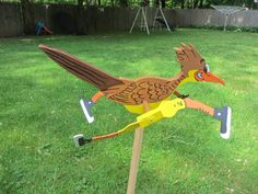 Handmade Wooden Road Runner shaped whirligig for your yard with or without sneakers by tomscraftcastle on Etsy