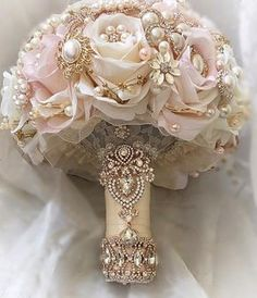 Custom Lush Blush Pink and Ivory with Gold and Rose Gold Bridal Brooch Bouquet Full Price is 49900 Deposit to place a Custom Order is 299300 Balance p Quince Decorations, Quinceanera Decorations, Wedding Decorations, Quinceanera Party, Rose Gold Quinceanera Dresses, Wedding Centerpieces, Quince Centerpieces, Gold Decorations, Candy Centerpieces