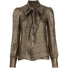Saint Laurent Lurex Tie Neck Blouse (5.440 BRL) ❤ liked on Polyvore featuring tops, blouses, all tops, kirna zabete, bow neck tie, floral print tops, brown blouse, floral tops and floral print blouse