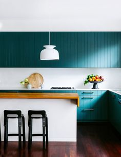 Kitchen from colourful California bungalow in Sydney's east by Arent & Pyke. Photography: Felix Forest   Styling: Juliette Arent