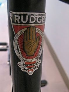 """1963 Rudge Sport """"Not imaginative but a good badge for a great brand"""" """"See how often Nottingham features on Headbadges."""" MAKETRAX.net - Bicycle HEADBADGES"""