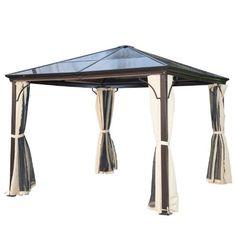 Luxus Pavillon Gartenpavillon Alu Partyzelt Gartenzelt mit lichtdurchlässigem PC Dach