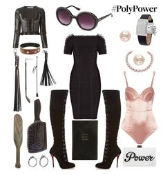 """""""Polypower"""" by creation-gallery ❤ liked on Polyvore featuring Givenchy, Hervé Léger, Christian Louboutin, Vetements, Moschino, Hermès, La Senza, Fleur du Mal, Jack Vartanian and Smythson"""