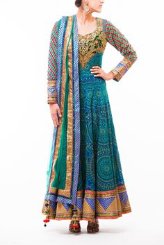 Teal - Midnight Blue Parsi Embroidery Anarkali with Zardozi work Yoke and sleeves paired with Green Net Dupatta with sequined and silk Border
