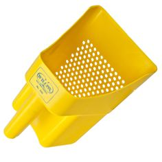 These sifting scoops are used to sift and strain dry and liquid material. Crop Production, Floating Garden, Play Yard, Greek Words, Hydroponics, Yellow, Plastic, Diet, Greek Sayings