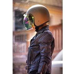 Flat Titanium Bonanza Helmet with Rainbow Mirror Bubble Shield