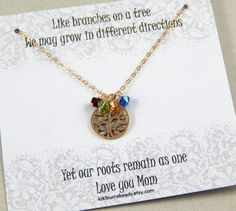 Birthstone Necklace Gold Family Tree Necklace by #Kikiburrabeads on #etsy#birthstonenecklace#mothersnecklace#goldfilled#treenecklace#gifts www.kikiburrabeads.etsy.com @kikiburrabeads
