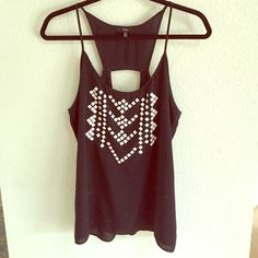 //black tank with white studded Aztec print// Cool design, with cutout on back ANGL Tops Tank Tops