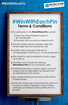 #ContestAlert: Good luck to all participants. Click here http://bit.ly/WinWithEachPinTnC for the complete T&C for #WinWithEachPin. #Contest #GoodLuck