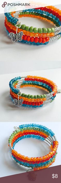 "NEW - Handmade Colorful Wrap Bangle Bracelet Brand New - Handmade - AROIS Products  Wrap bangle made of chunky, glass seed beads, butterfly and flower charm dangles.  Cute for spring!   Recommended for 5.75"" - 7"" wrist size. Approx. 1/2"" Charms  ~ Bundle three or more items for a private offer. ~ AROIS Products Jewelry Bracelets"
