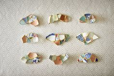 Spoon and Tamagotchi Artist Tomomi Kamoshita. Uses broken pieces of ceramics that she picked up on the shore, and combining it with pieces of her own broken ceramics, the Tokyo-based potter uses the ancient kintsugi method of repairing ceramics to turn the shards into one-of-a-kind chopstick rests.