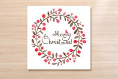 Christmas Wreath watercolor card by Oodles Doodles on Creative Market