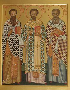 Saints Basil the Great, John Chrysostom, Gregory the Theologian Byzantine Icons, Byzantine Art, Monastery Icons, John Chrysostom, St Basil's, Christian Artwork, Art Icon, Orthodox Icons, Russian Art